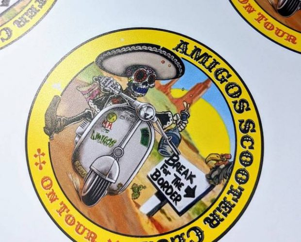 Another scooter club sticker.. original airbrush art by talented artist Dave Nolan. Sticker design by cocoamedia and printed by us...